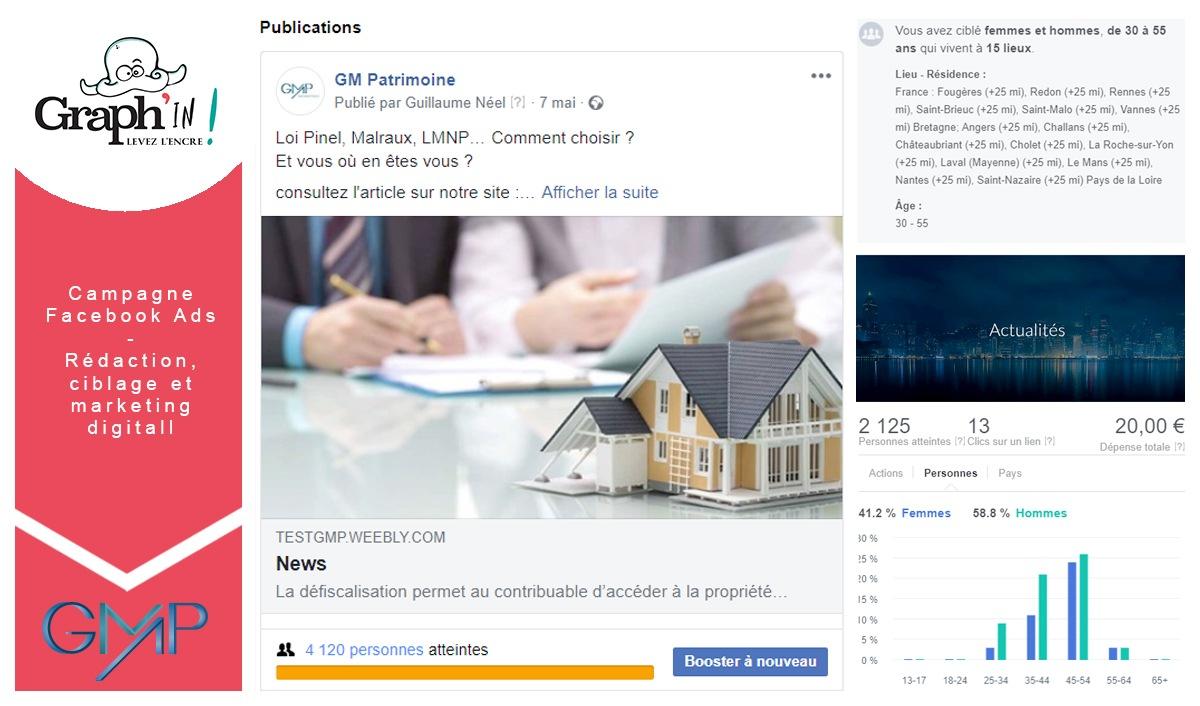 Campagne Facebook Ads Nantes GM Patrimoine
