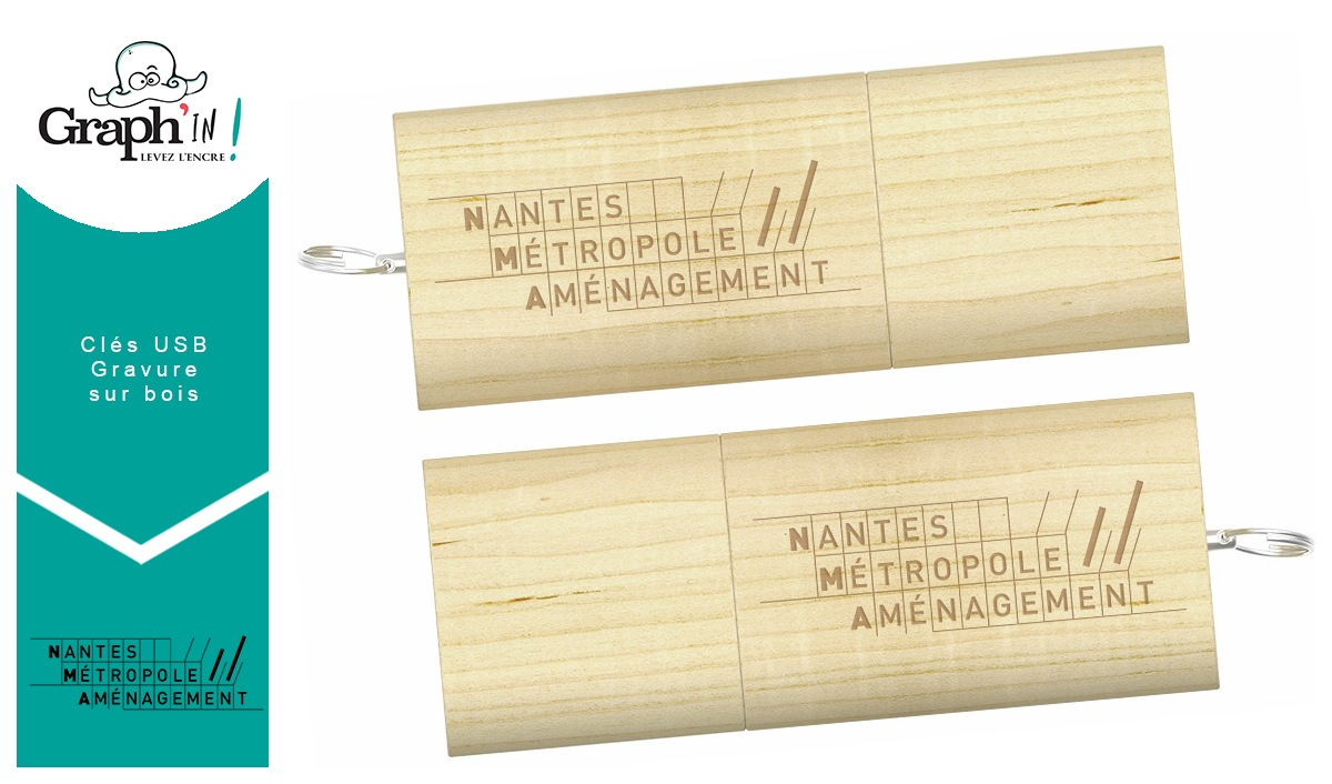 Clé USB gravure sur bois Nantes Métropole Aménagement
